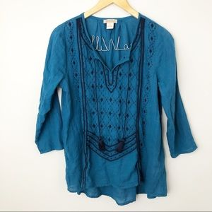 Lucky Brand | Small | Boho Embroidered Tassel Top
